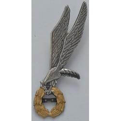 Metalowa odznaka skoczka spadochronowego z belką na liczbę skoków (gapa) ze złotym wieńcem