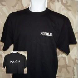 T-shirt z haftowanym białym napisem